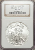 Modern Bullion Coins, 2008-W $1 Silver Eagle, Reverse of 2007 MS70 NGC. NGC Census:(4379). PCGS Population (275). Numismedia Wsl. Price for pro...