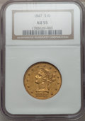 Liberty Eagles: , 1847 $10 AU55 NGC. NGC Census: (164/207). PCGS Population (35/43).Mintage: 862,258. Numismedia Wsl. Price for problem free...