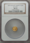 California Fractional Gold: , 1870 25C Goofy Head Round 25 Cents, BG-867, R.4, MS63 NGC. NGCCensus: (5/1). PCGS Population (16/9). ...