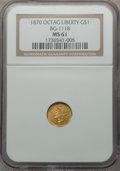 California Fractional Gold: , 1870 $1 Goofy Head Octagonal 1 Dollar, BG-1118, Low R.5, MS61 NGC.NGC Census: (2/0). PCGS Population (4/11). ...