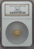 California Fractional Gold: , 1860 $1 Liberty Octagonal 1 Dollar, BG-1102, R.4, MS62 NGC. NGCCensus: (8/9). PCGS Population (23/34). ...