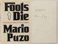 Books:Literature 1900-up, Mario Puzo. SIGNED/LIMITED. Fools Die. New York: G.P.Putnam's, [1978]. First edition, first impression, limited t...