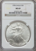 Modern Bullion Coins: , 1996 $1 Silver Eagle MS69 NGC. NGC Census: (89641/137). PCGSPopulation (5117/0). Mintage: 3,603,386. Numismedia Wsl. Price...