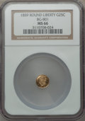 California Fractional Gold: , 1859 25C Liberty Round 25 Cents, BG-801, R.3, MS66 NGC. NGC Census:(11/1). PCGS Population (1/0). ...