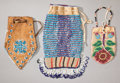 American Indian Art:Beadwork and Quillwork, THREE GREAT LAKES/PLATEAU BEADED POUCHES. c. 1920 - 1960... (Total:3 )