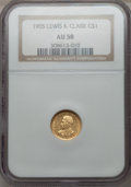 Commemorative Gold: , 1905 G$1 Lewis and Clark AU58 NGC. NGC Census: (70/1192). PCGSPopulation (119/1821). Mintage: 10,000. Numismedia Wsl. Pric...