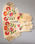 American Indian Art:Beadwork and Quillwork, A PAIR OF PLATEAU EMBROIDERED HIDE GAUNTLETS. c. 1910... (Total: 2 )
