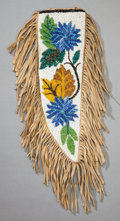 American Indian Art:Beadwork and Quillwork, A CHIPPEWA BEADED HIDE KNIFE SHEATH. c. 1920...