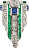 Estate Jewelry:Brooches - Pins, Art Deco Diamond, Sapphire, Emerald, Platinum Clip-Brooch. ...