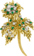 Estate Jewelry:Brooches - Pins, Diamond, Emerald, Gold Clip-Brooch, Kurt Wayne. ...