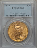 Saint-Gaudens Double Eagles: , 1910 $20 MS64 PCGS. PCGS Population (1153/172). NGC Census:(863/74). Mintage: 482,000. Numismedia Wsl. Price for problem f...