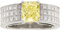 Estate Jewelry:Rings, Fancy Yellow Diamond, Diamond, White Gold Ring. ...