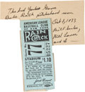 Baseball Collectibles:Tickets, 1933 Babe Ruth Final Pitching Victory Ticket Stub. ...