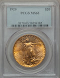 Saint-Gaudens Double Eagles: , 1920 $20 MS63 PCGS. PCGS Population (1968/831). NGC Census:(1437/415). Mintage: 228,250. Numismedia Wsl. Price for problem...