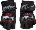 Miscellaneous Collectibles:General, 2008 Matt Lindland Fight Worn Signed MMA Gloves With ProvenanceFrom Lindland's Cut Man. ...