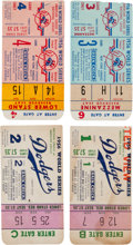 Baseball Collectibles:Tickets, 1956 World Series Collection of Four Ticket Stubs - BrooklynDodgers vs. New York Yankees. ...