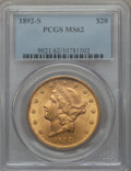 Liberty Double Eagles: , 1892-S $20 MS62 PCGS. PCGS Population (1288/687). NGC Census: (1475/404). Mintage: 930,150. Numismedia Wsl. Price for probl...