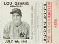 Baseball Collectibles:Tickets, 1941 Lou Gehrig Memorial Game New York Yankees Ticket Stub....