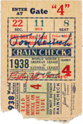 Autographs:Others, 1938 New York Yankees vs. Chicago Cubs World Series Game FourTicket Stub, Lou Gehrig's Final World Series, Signed by Henrich ...