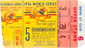 Baseball Collectibles:Tickets, 1956 New York Yankees vs. Brooklyn Dodgers World Series TicketStubs Lot of 3 with Don Larsen Perfect Game 5....