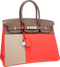 Luxury Accessories:Bags, Hermes Limited Edition 35cm Rose Jaipur, Etain & Gris Tourterelle Clemence Leather Cascade Birkin Bag with Brushed Palladium H...