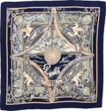 """Luxury Accessories:Accessories, Hermes Navy, Gray & Beige """"Rythmes du Monde,"""" by Laurence Bourthoumieux Cashmere & Silk Shawl. ..."""