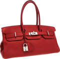 Luxury Accessories:Bags, Hermes 42cm Rouge Garance Clemence Leather JPG Shoulder Birkin IBag with Palladium Hardware. ...