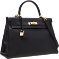 Luxury Accessories:Bags, Hermes 35cm Black Togo Leather Retourne Kelly Bag with GoldHardware. ...