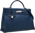 Luxury Accessories:Bags, Hermes 40cm Blue de Malte Togo Leather Retourne Kelly Bag withPalladium Hardware . ...