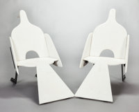 FRANÇOIS-XAVIER LALANNE (French, 1927-2008) A Pair of Marble and Painted Wrought Iron Bird Chairs (Small Model)...