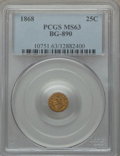 California Fractional Gold: , 1868 25C Indian Round 25 Cents, BG-890, High R.5, MS63 PCGS. PCGSPopulation (6/15). NGC Census: (0/2). ...