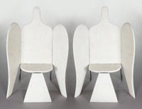 FRANÇOIS-XAVIER LALANNE (French, 1927-2008) A Pair of Marble and Painted Wrought Iron Bird Armchairs (Large Mod...