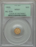 California Fractional Gold: , 1855 50C Liberty Octagonal 50 Cents, BG-309, R.5, MS61 PCGS. PCGSPopulation (3/22). NGC Census: (0/4). ...