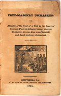 Books:Americana & American History, Free-Masonry Unmasked: Or, Minutes of the trial of a Suit in theCourt of Common Pleas of Adams County, wherein Thaddeus Ste...
