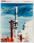 Autographs:Celebrities, Gemini 6A Crew-Signed Original NASA Color Launch Photo. ...