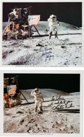 "Autographs:Celebrities, Apollo 16 Moonwalkers: Matching Individual Signed Lunar Surface""Flag Salute"" Color Photos. ... (Total: 2 Items)"