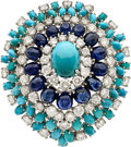 Estate Jewelry:Brooches - Pins, Diamond, Sapphire, Turquoise, White Gold Brooch, French. ...