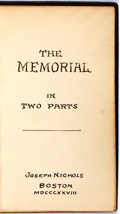 Books:Literature Pre-1900, [Literary Magazine].The Memorial. Boston: Joseph Nichols,1828. Consists of selections of poetry and prose submitted...