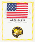 Explorers:Space Exploration, Apollo 13 Flown American Flag on a Certificate Directly from the Personal Collection of Mission Commander James Lovell, Signed...