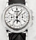 Timepieces:Wristwatch, Patek Philippe Ref. 5970G-001 Very Fine And Rare 18k White Gold Chronograph With Perpetual Calendar, Date, Weekday, Month, Moo...