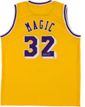 Basketball Collectibles:Uniforms, Magic Johnson Signed Lakers Jersey....