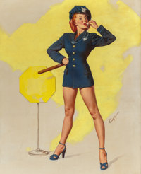 GIL ELVGREN (American, 1914-1980) A Real Stopper (Now I'll do the Whistling), Brown & Bigelow calendar illustra...