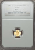 California Fractional Gold: , 1873 50C Indian Octagonal 50 Cents, BG-942, Low R.5, MS63 NGC. NGCCensus: (2/1). PCGS Population (14/12). ...