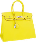 Luxury Accessories:Bags, Hermes Limited Edition Candy Collection 35cm Lime & Gris Perle Epsom Leather Birkin Bag with Palladium Hardware. ...