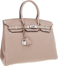 Luxury Accessories:Bags, Hermes 35cm Gris Tourterelle Clemence Leather Birkin Bag withPalladium Hardware. ...