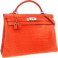 Luxury Accessories:Bags, Hermes 40cm Matte Sanguine Porosus Crocodile Retourne Kelly Bagwith Palladium Hardware. ...