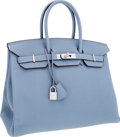 Luxury Accessories:Bags, Hermes 35cm Blue Lin Clemence Leather Birkin Bag with PalladiumHardware. ...