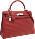 Luxury Accessories:Bags, Hermes Limited Edition 32cm Rouge H Calf Box Leather Waffle KellyBag with Palladium Hardware. ...