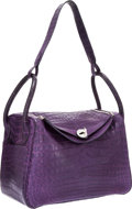 Luxury Accessories:Bags, Hermes 34cm Matte Amethyst Nilo Crocodile Lindy Bag with PalladiumHardware. ...