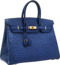 Luxury Accessories:Bags, Hermes 35cm Blue Saphir Ostrich Birkin Bag with Gold Hardware. ...